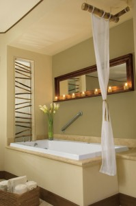 Dreams Riviera Cancun Resort and Spa whirlpool tub in each room.