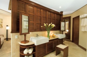 Dreams Riviera Cancun Resort and Spa Vanity area of the Premium Deluxe Room