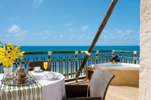 Dreams Riviera Cancun Resort and Spa Preferred Club Ocean Front room with an outdoor Jacuzzi